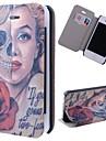 특수 곡물 아이폰 4 / 4S에 대한 카드 슬롯이 두개골 여자 패턴 PU 몸 전체 케이스 장미