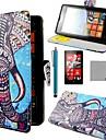 caso corpo de coco fun® elefante azul padrao de couro pu completo com protetor de tela, caneta e ficar para Lumia Nokia N520