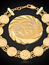 u7® 프랑스 나폴레옹 동전 팔찌 18K 진짜 금은 링크 체인 여성 보석 팔찌 도금