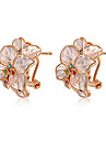 Earring Stud Earrings Jewelry Party / Daily / Casual Crystal / Alloy Gold / White
