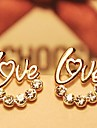 Earring Stud Earrings Jewelry Women Wedding / Party / Daily / Casual Rhinestone / Gold Plated Gold