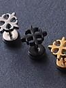 European Fash Quatrefoil Titanium Steel Stud Earrings(Black,Silver,Gold) (1 Pc) Christmas Gifts