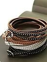 moda multicamadas pulseira de couro fino 90 centimetros rebite fio (cafe, preto, marrom e branco) (1 pc)