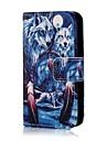 Coco fun® padrao lobo azul de couro pu caso de corpo inteiro com protetor de tela, suporte e stylus para iphone 4 / 4s