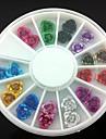 24PCS Colorful Metal Flower Nail Art Decorations
