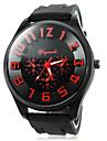 Reloj del cuarzo de la venda del silicon caso negro estilo militar de los hombres (assortedcolors)
