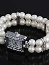 Women's Rectangular-Shaped Alloy Inlay Rhinestone Imitated Pearl Bracelet Watch White (1Pc) Cool Watches Unique Watches
