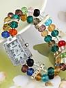 Women\'s Colorful Beads Plastic Chain Quartz Analog Bracelet Watch