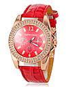 Women\'s Diamante Gold Case Red Leather Band Quartz Fashion Watch Cool Watches Unique Watches