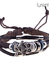 Men's Lureme Skull Charming Braided Leather Bracelet Jewelry