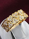 Fashion Heart Shape Zircon Golden Statement Ring For Women (1 pc)