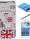 British Style Design PU Leather Full Body Case with Stylus and Protective Film and Soft Pouch for Samsung S4 Mini I9190