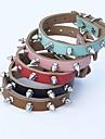 Cat / Dog Collar Adjustable/Retractable / Studded / Rivet Red / Black / Blue / Brown / Pink Genuine Leather