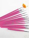 15PCS Pink  Nail Art Design Painting Drawing Pen Brush Set Wood Handle Acrylic Brush