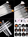 15pcs peinture blanche conception de manucure dessin brosse plume bois mis en acrylique poignee brosse