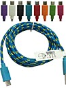 10FT Braided Fabric Micro USB Sync Adapter Charger Cable for Sony HTC BlackBerry LG (Assorted Color)