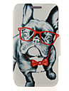 Glass Dog Pattern Full Body PU Cover with Stand for Huawei G510/P7/P8/P8 Lite and Huawei Honor 6/6X/6 Plus