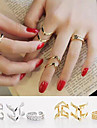 European Combined Double V Alloy Midi Rings(Gold,Silver) (1set)
