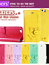 leiers® gato domi inversao magnetica capa de couro cartao da carteira caso compartimento Suporte para iPhone 5 / 5s (cores sortidas)
