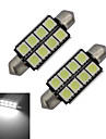 JIAWEN® 2pcs Festoon 42mm 1.5W 8x5050SMD 150-170LM 6000-6500K Cool White Light LED Car Light (DC 12V)
