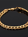 U7® Men's 18K Chunky Gold Filled Figaro Cuban Chain Bracelet 7MM 21CM Jewelry Christmas Gifts