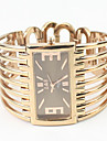 Women\'s Rectangle Case Gold Alloy Band Quartz Analog Bracelet Watch