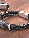 Персонализированные ювелирные изделия браслеты - Нержавеющая сталь/Кожа - серебро/черный -