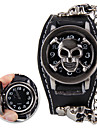 Classic Skull Shaped Heavy Metal Genuine Leather Rivet Watch(Black)(1Pc)