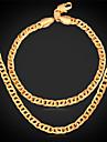 Bijoux Colliers decoratifs Bracelet Set de Bijoux Mariage Soiree Quotidien Decontracte Sports Alliage Plaque or 1set Hommes DoreCadeaux