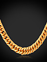 U7® Men\'s Classical Necklace \'18K\' Stamp High Quality Men Gold Chain Simple Style Cuban Link Chain Necklace
