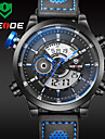 WEIDE Men Fashion Black Analog Digital Sport Watch Leather Strap Stopwatch/Alarm Backlight/Waterproof Wrist Watch Cool Watch Unique Watch