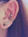 Euner® Gothic Punk Rock Silver Feather Leaf Piercing Clips Clip On Ear Cuff Ear Cuffs Earring Wrap No Pierced Earrings