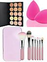 15 cores face facial contorno corretivo creme paleta + 7pcs rosa escovas caixa de maquiagem kit + po de sopro