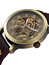 SHENHUA® Men's Vintage Skeleton Bronzen Dial Leather Band Automatic Self Wind Wrist Watch Cool Watch Unique Watch