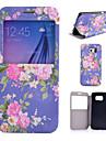 azul padrao de flores pu caso de telefone de couro para Samsung Galaxy S4 / S5 / S6 / S4 mini-/ S5 mini-