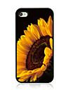 grosse Sonnenblume Leder Venenmuster Hard Case fuer iPhone 4 / 4s