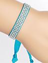 Vilam® Colorful Ribbon Rhinestone Row Shining Adjustable Ribbon Fastener Thin 1cm Bracelet