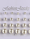 European And American Fashion Pearl Earrings 12 Pairs Of Size Stud Earrings Wedding/Party/Daily/Casual 1set