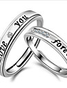 Alliances Ajustable Quotidien Decontracte Sports Bijoux Argent sterling Couple Couple de Bagues 2pcs,reglable Argent