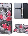 fleurs rouges magnetique PU couverture de cas de stand en cuir pour 6s iphone