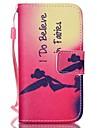 아이폰 4 / 4S 용 레드 패턴 PU 가죽 소재 플립 카드 전화 케이스