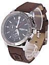 Men's Fashion Dial Brown Leather Strap Quartz Watch Wrist Watch Cool Watch Unique Watch