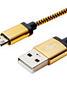 + PVC cable de donnees USB 2.0 1m 3.28ft d\'aluminium pour telephone mobile Samsung