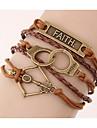 Unisex Multilayer Leather Bracelet  Handcuffs Faith