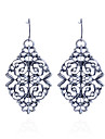 Drop Earrings Silver Plated Carved Flower Silver Jewelry Party Daily Casual 2pcs