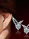 Stud Earrings Fashion Cute Style Crystal Silver Plated Wings / Feather Silver Jewelry For Wedding Party Daily Casual 2pcs