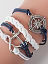 Men\'s Blue Anchor Braided/Cord Leather Handmade Multilayer Charm Bracelet Unisex