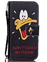 patron de pato hzbyc®yellow-mandado caso cordon tarjeta de material de la PU para el iphone 5 / 5s