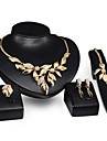 Conjunto de Joias Estilo Punk Joias de Luxo imitacao de diamante Liga Formato de Folha Dourado 1 Colar 1 Par de Brincos 1 Bracelete Aneis