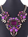 MISSING U Vintage / Party Gold Plated / Alloy / Gemstone & Crystal Statement Necklace